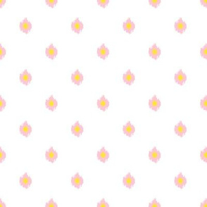 """8"""" White Pink and Yellow Print"""