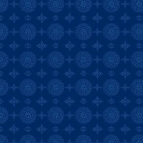 Circle mandala and dots in blue