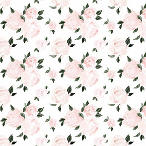 vintage-pink-floral-dark-green-leaves S