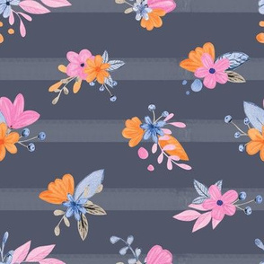 Watercolor flowers on a stripes