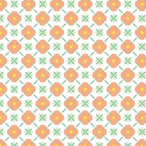 Coral geometric flowers