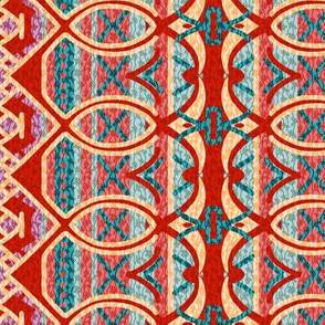 Bohemian Column Stripes in Valentine Red Pink and Teal