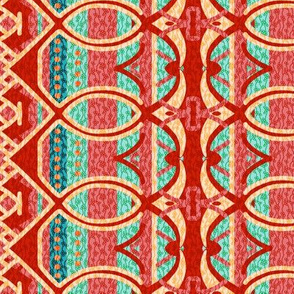 Bohemian Column Stripes Red Pink Teal and Turquoise