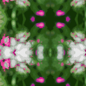 Scattered Petals -green with pink