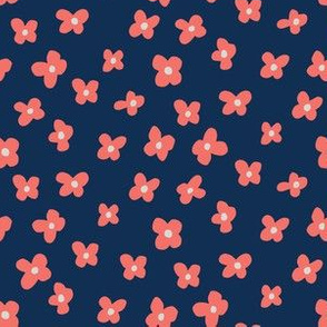 Ditsy Floral - Navy & Coral - Limited Color Challenge
