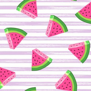 watermelons (purple stripes)- summer fruit fabric - LAD19