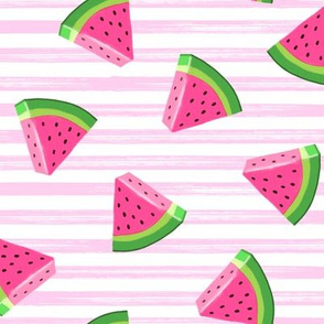 watermelons (pink stripes)- summer fruit fabric - LAD19