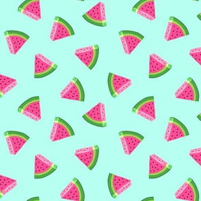 (small scale) watermelons (teal)- summer fruit fabric - LAD19