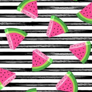 watermelons (black stripes)- summer fruit fabric - LAD19