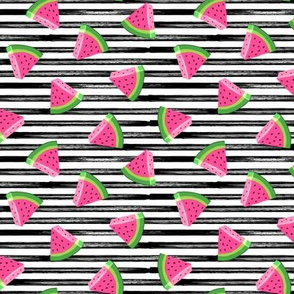 (small scale) watermelons (black stripes)- summer fruit fabric - LAD19