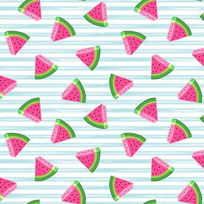 (small scale) watermelons (blue stripes)- summer fruit fabric - LAD19
