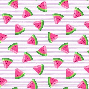 (small scale) watermelons (purple stripes)- summer fruit fabric - LAD19