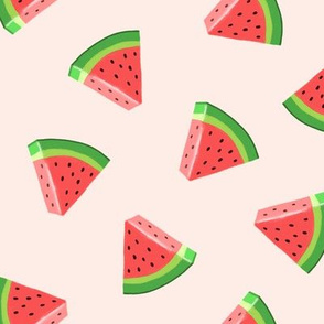 watermelons (red on pale pink)- summer fruit fabric - LAD19