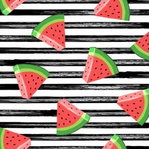 watermelons (red on black stripes)- summer fruit fabric - LAD19