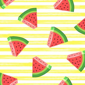 watermelons (red on yellow stripes)- summer fruit fabric - LAD19