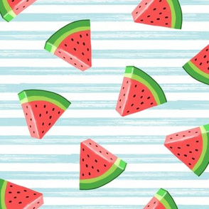 watermelons (red on light blue)- summer fruit fabric - LAD19