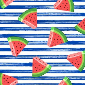 watermelons (red on blue stripes) - summer fruit fabric - LAD19