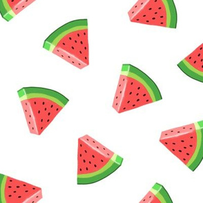 watermelons (red on white)- summer fruit fabric - LAD19