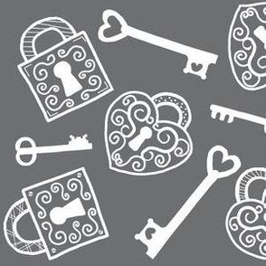 Unlock My Heart / vintage lock & key / grey - white lines