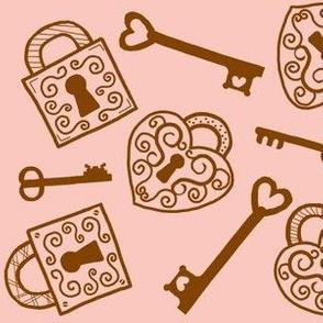 Unlock my Heart / vintage locks and keys / brown on pink