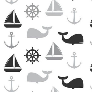 nautical in greys - whale, sailboat, anchor, wheel LAD19