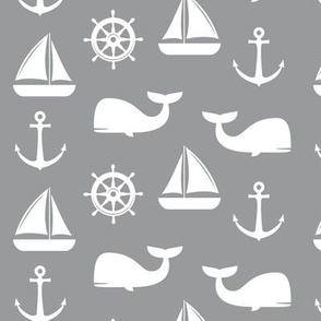 nautical on grey - whale, sailboat, anchor, wheel LAD19