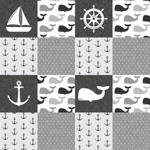 Nautical Patchwork - Sailboat, Anchor, Wheel, Whale - Monochrome  LAD19