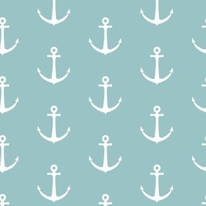 anchors on dusty blue - nautical - LAD19