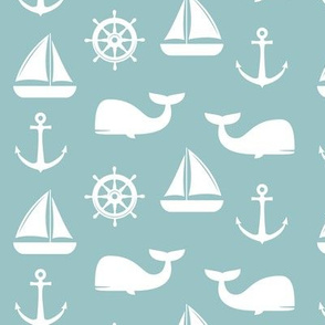 nautical on dusty blue - whale, sailboat, anchor, wheel LAD19