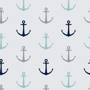 anchors - multi colored blue and navy on grey - LAD19