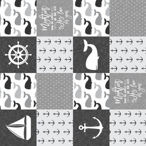 Nautical Patchwork - Mightier than the waves in the sea - Sailboat, Anchor, Wheel, Whale - Monochrome (90) LAD19