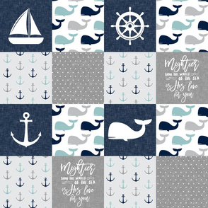 Nautical Patchwork - Mightier than the waves in the sea - Sailboat, Anchor, Wheel, Whale - Navy, dusty blue,  and Grey LAD19