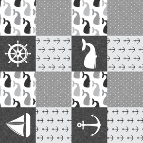 Nautical Patchwork - Sailboat, Anchor, Wheel, Whale - Monochrome (90)  LAD19