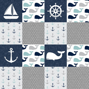 Nautical Patchwork  - Sailboat, Anchor, Wheel, Whale - Navy, dusty blue,  and Grey  LAD19