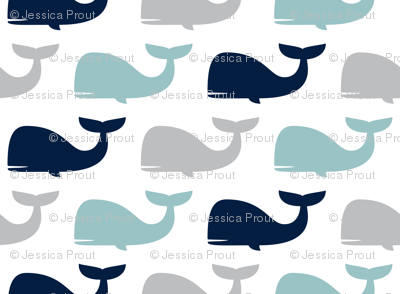 whales - nautical fabric - navy and dusty blue LAD19