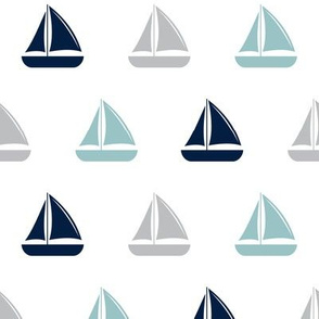sailboats - nautical - dusty blue and navy LAD19