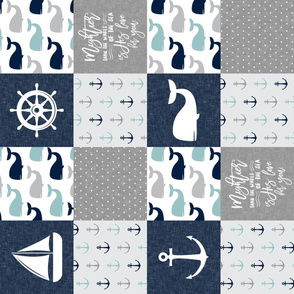 Nautical Patchwork - Mightier than the waves in the sea - Sailboat, Anchor, Wheel, Whale - Navy, dusty blue,  and Grey (90)  LAD19