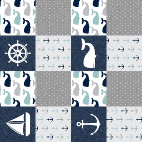 Nautical Patchwork  - Sailboat, Anchor, Wheel, Whale - Navy, dusty blue,  and Grey (90)  LAD19