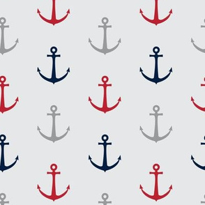 anchors - multi red and navy - nautical LAD19