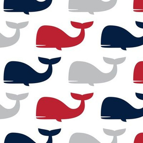 whales - nautical fabric - navy and red LAD19