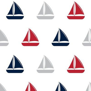 sailboats - nautical - red and navy  LAD19