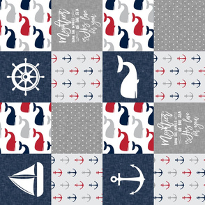 Nautical Patchwork - Mightier than the waves in the sea - Sailboat, Anchor, Wheel, Whale - Red and Navy (90) LAD19