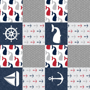 Nautical Patchwork - Sailboat, Anchor, Wheel, Whale - Red and Navy (90) LAD19