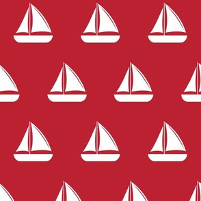 sailboats - nautical - red  LAD19