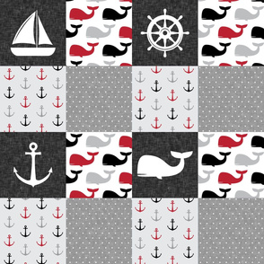 Nautical Patchwork - Sailboat, Anchor, Wheel, Whale - Red and Grey LAD19