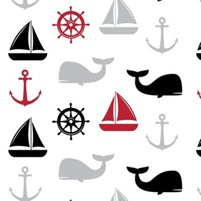 nautical in red and black - whale, sailboat, anchor,  wheel LAD19