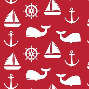 nautical on red - whale, sailboat, anchor,  wheel LAD19