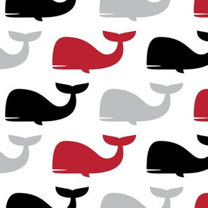 whales - nautical fabric - black and red LAD19