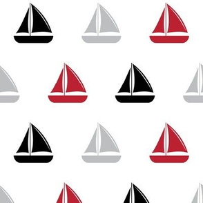 sailboats - nautical - black and red  LAD19