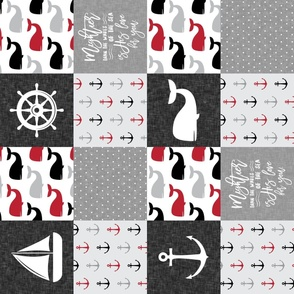 Nautical Patchwork - Mightier than the waves in the sea - Sailboat, Anchor, Wheel, Whale - Red and Grey (90) LAD19